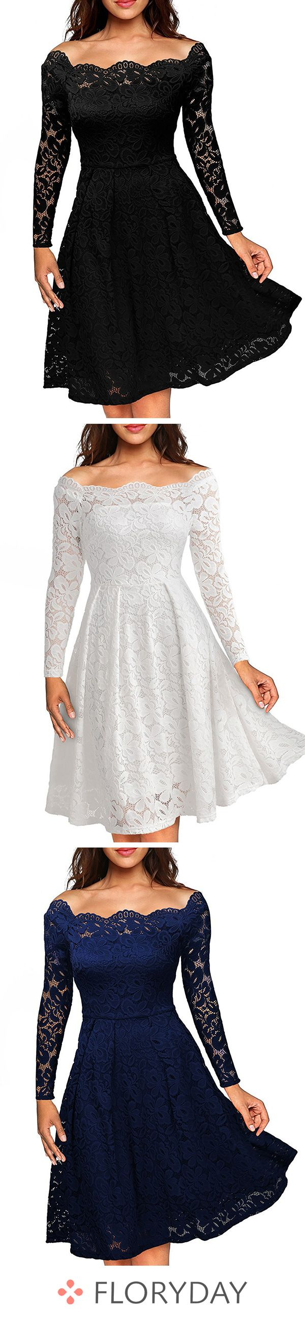 Solid lace long sleeve kneelength aline dress solid dress lace
