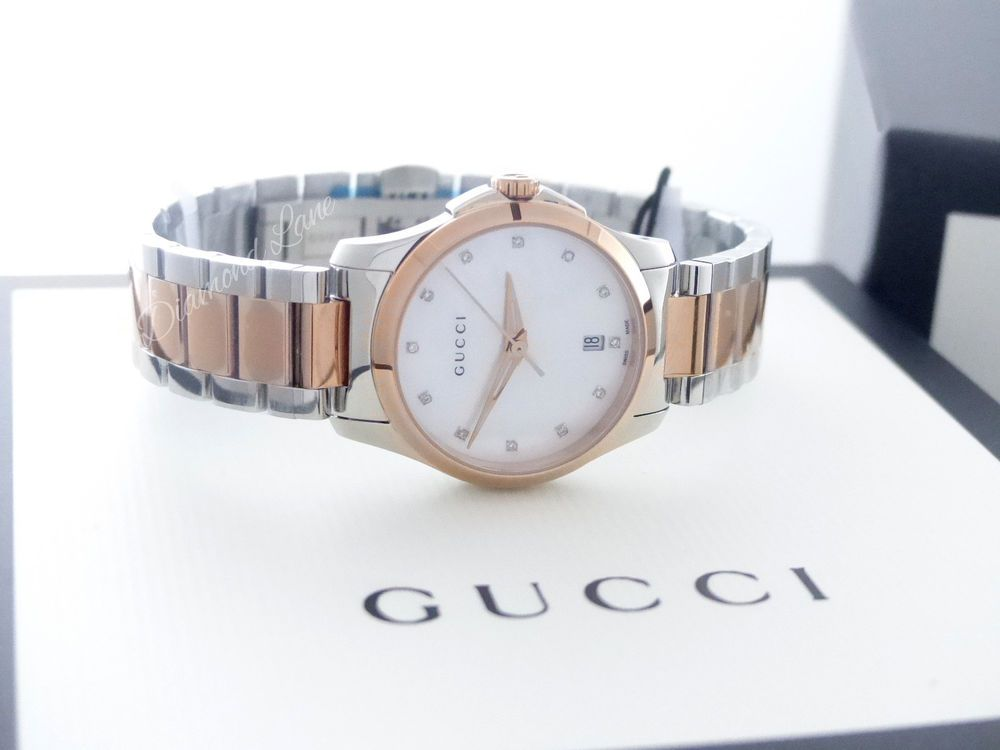 a7804b88878 Gucci G-Timeless Two-Tone PVD Steel Bracelet Diamond Women s Watch YA126544   Gucci