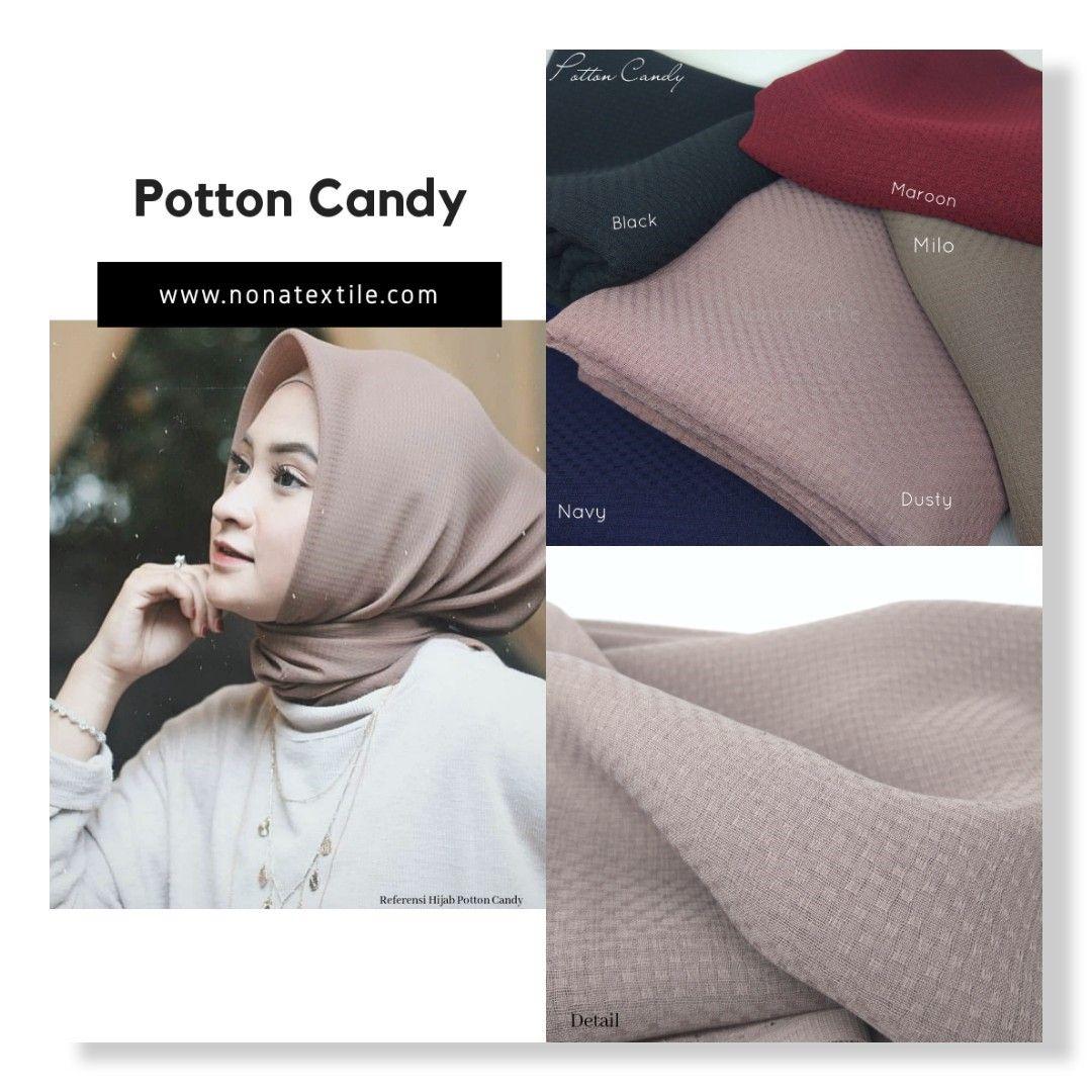 Kain polycotton candy, kain hijab polycotton, bahan kerudung,jenis