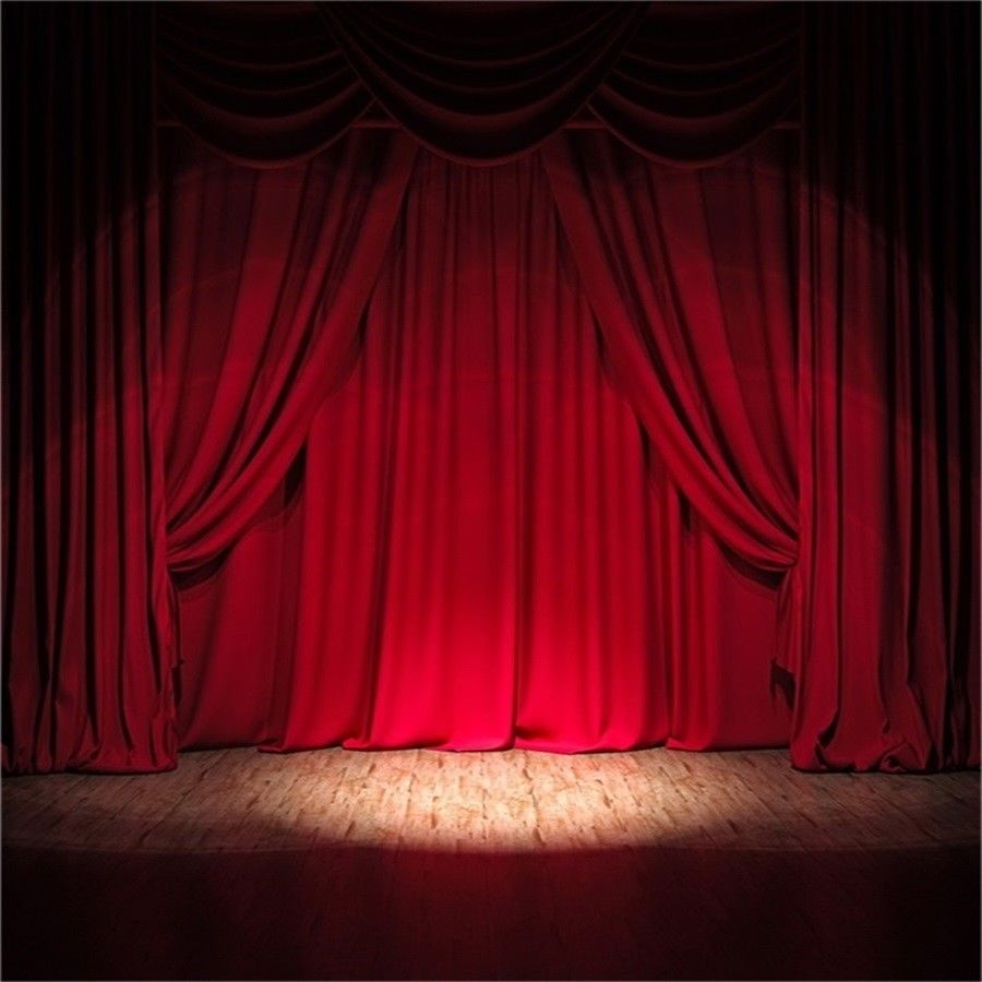 Stage Red Heavy Curtain Vinyl 6x6ft Photography Backdrop Photo