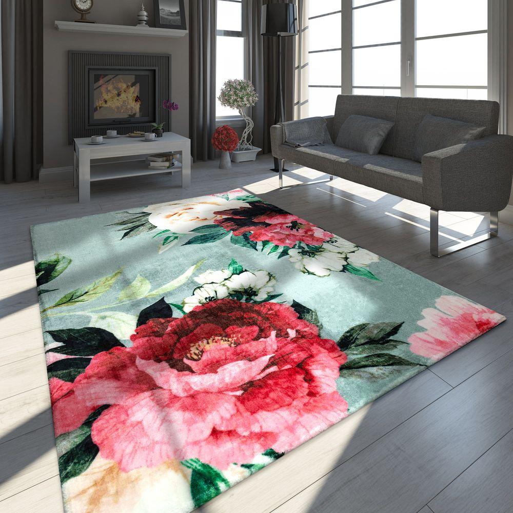 Designer Teppich Blumen Muster Grau Teppich Design Teppich Gemusterte Teppiche