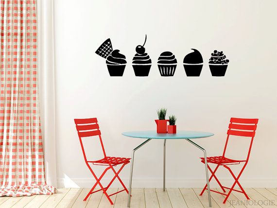 Cupcakes Vinyl Wall Art Decal by Jeaniologie on Etsy | Wall Art ...