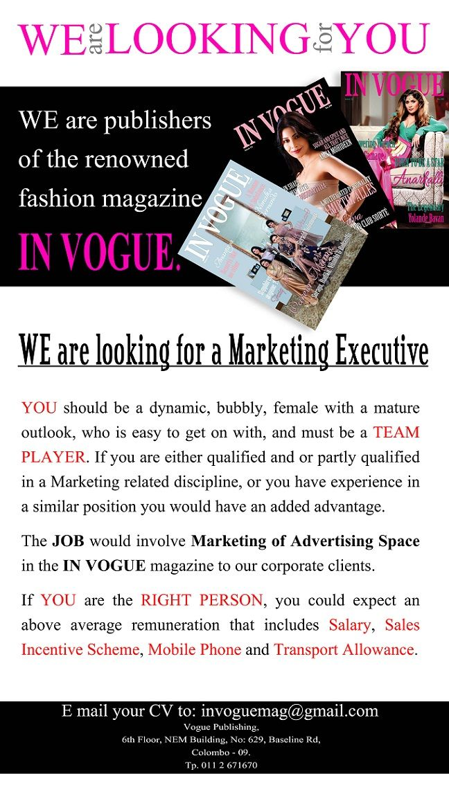 Marketing Executive at In Vogue Magazine | Career First