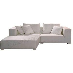 Leather Sectional sofa contemporary deep seating positioned low to