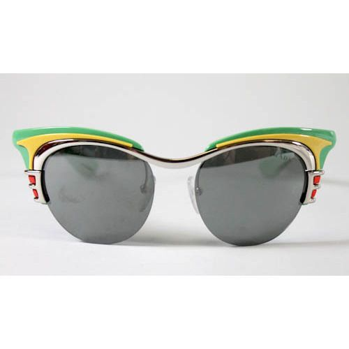 2103f3b274d7f NEW PRADA Green Yellow Retro Dixie Car Deluxe Club Master Sunglasses ...