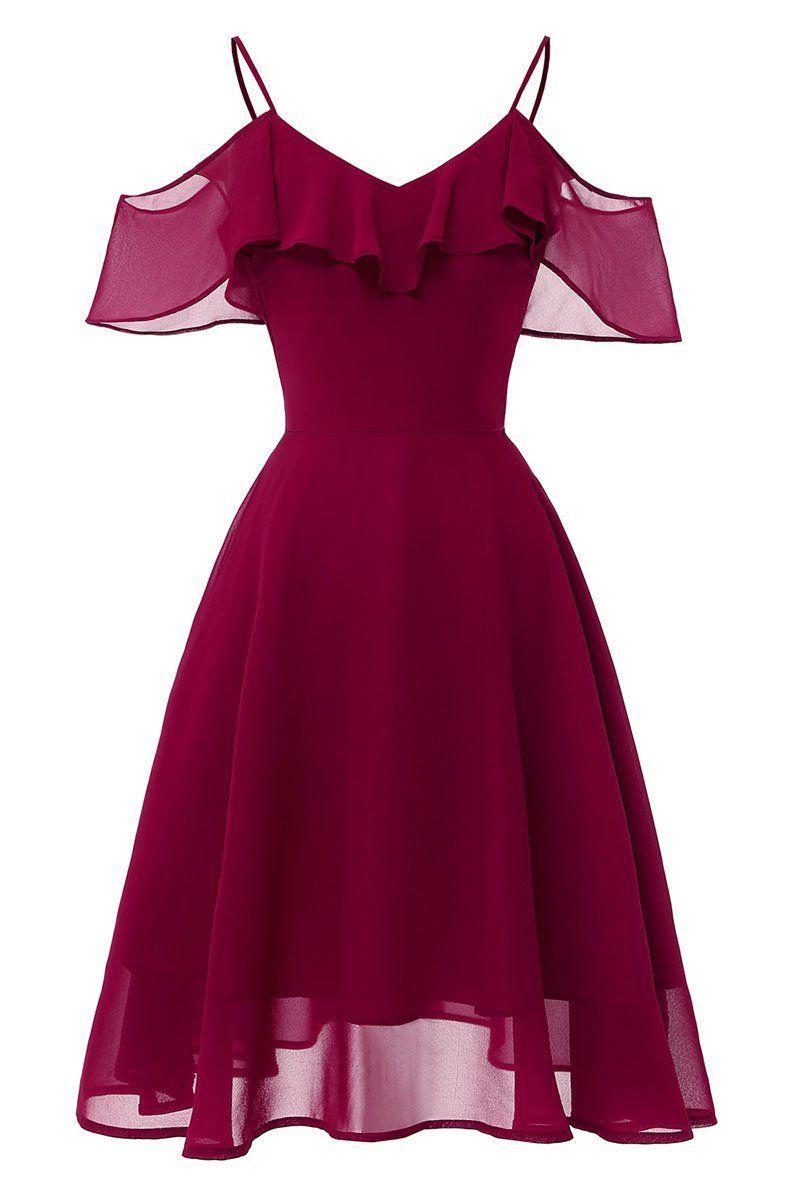 Burgund Off the Shoulder Kleid mit A Linie und Spaghettibügel in ...