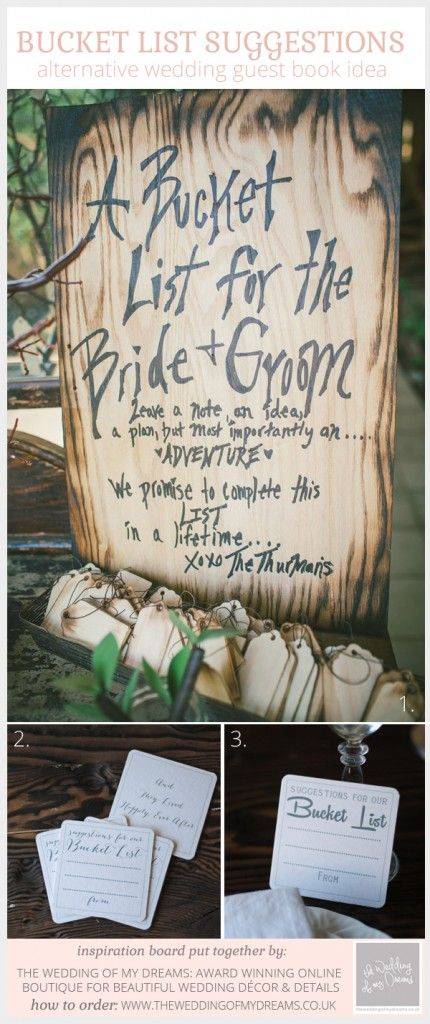 alternative wedding guest book idea suggestions for our bucket list