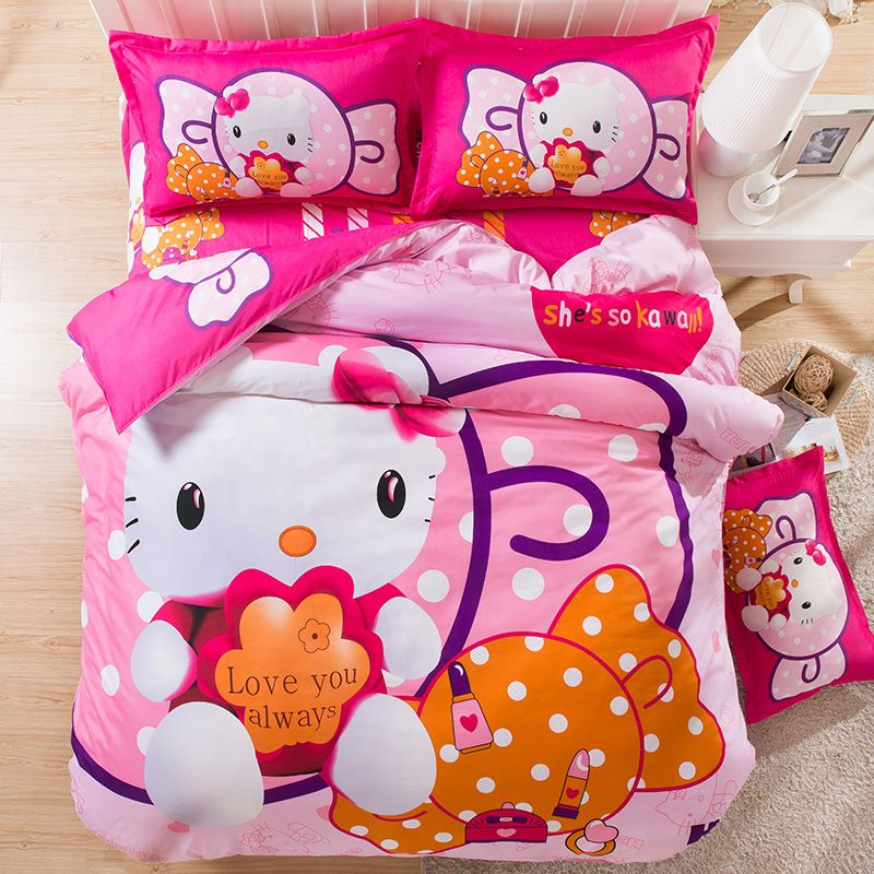 New Hello Kitty Bedding Set Twin Full Queen Size Bed Clothing