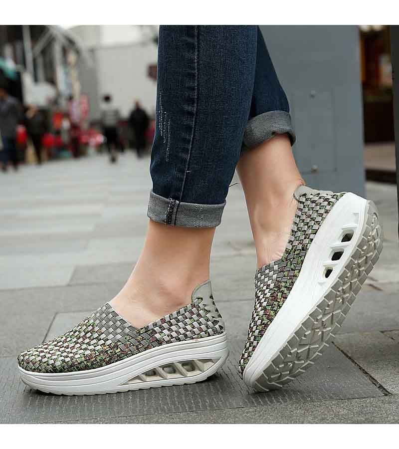 0c11d7224551ed Women's #grey slip on #rocker bottom sole shoe sneakers check pattern  design, Round toe, casual, leisure occasions.