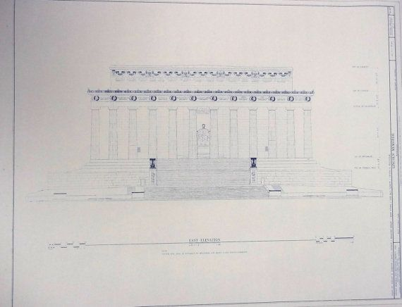 Lincoln Memorial - Front Elevation Architecture Pinterest - new blueprint meaning meaning