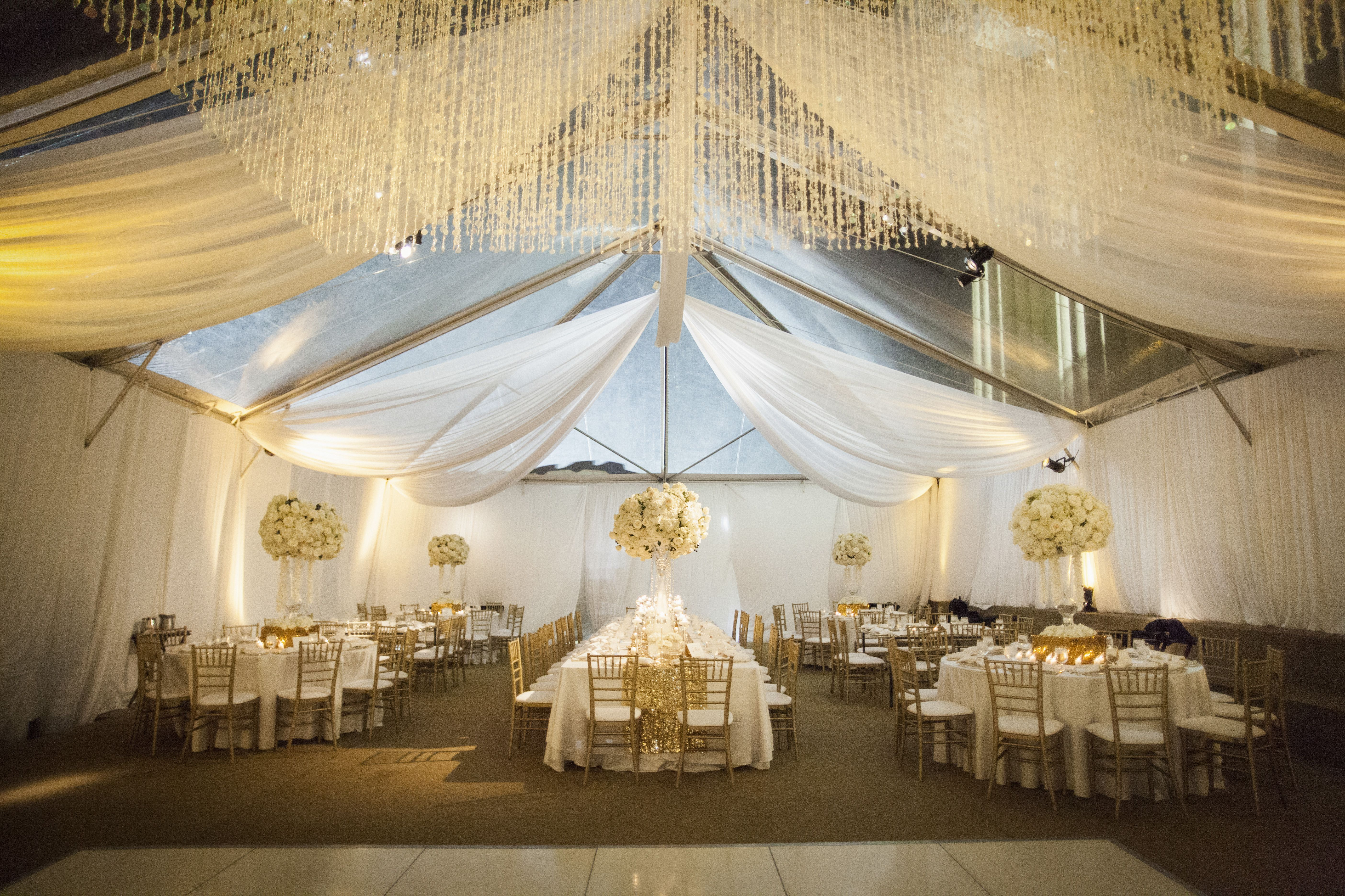 White Flower Ball Centerpieces And Draping Weddings In Gold