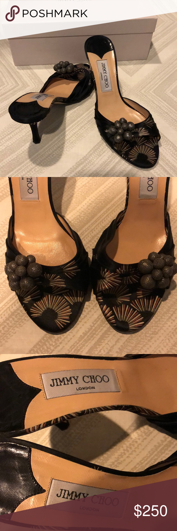 Jimmy Choo Black Fabric with Silver