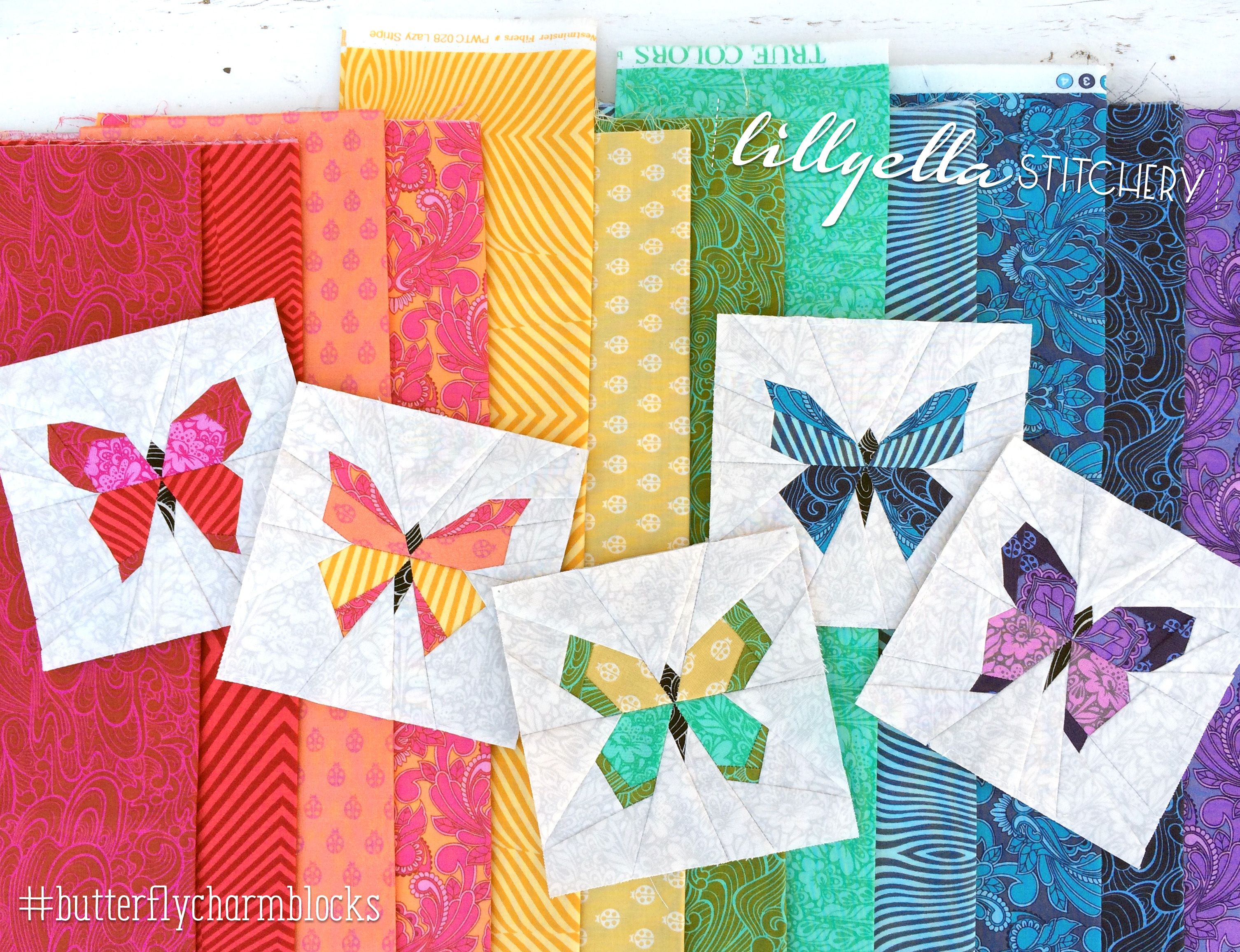 Butterfly Charm Blocks Free Paper Piecing Pattern By