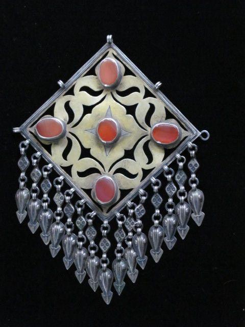 Antique Collectible Silver Turkmen Pendant