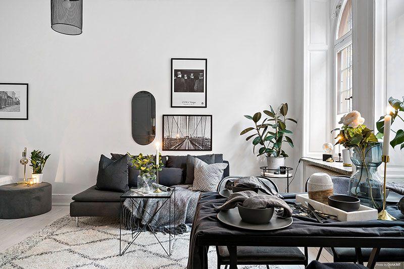 Elegant Monochrome Studio Apartment In Sweden 30 Sqm Foto Idei Dizajn Interior Design Beautiful Interiors Apartment Living