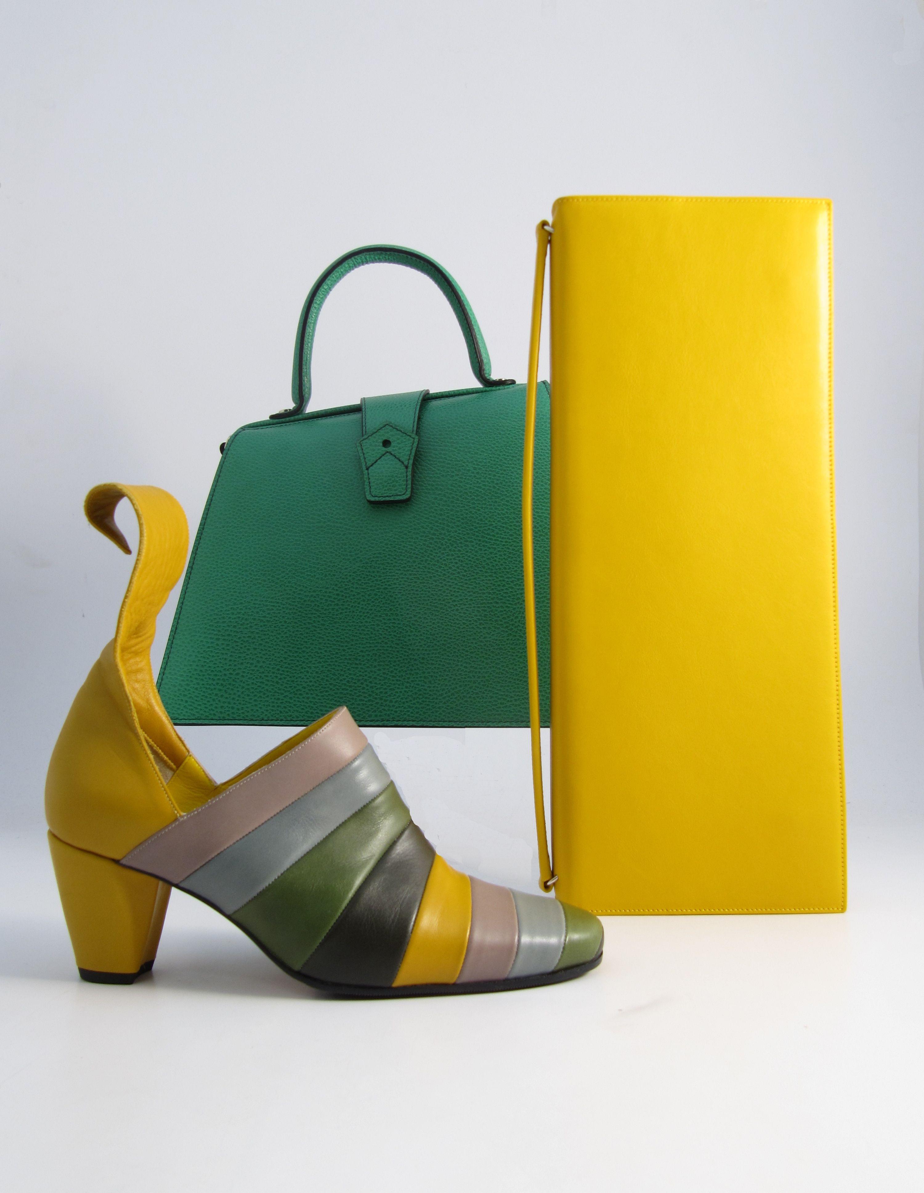 Hester van Eeghen: Klipper Diaganol turquoise, Serata yellow, Wonderland yellow green