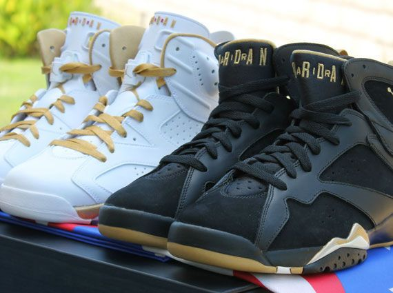 best sneakers 21116 575c0 Nike Air Jordan 6   7 VI VII Retro  Golden Moments  Gold Pack 535357-935 GMP