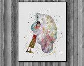 Baymax and Hiro Hamada DISNEY 4  watercolor,  Big Hero 6 Poster - Art Print, instant download, Watercolor Print, poste