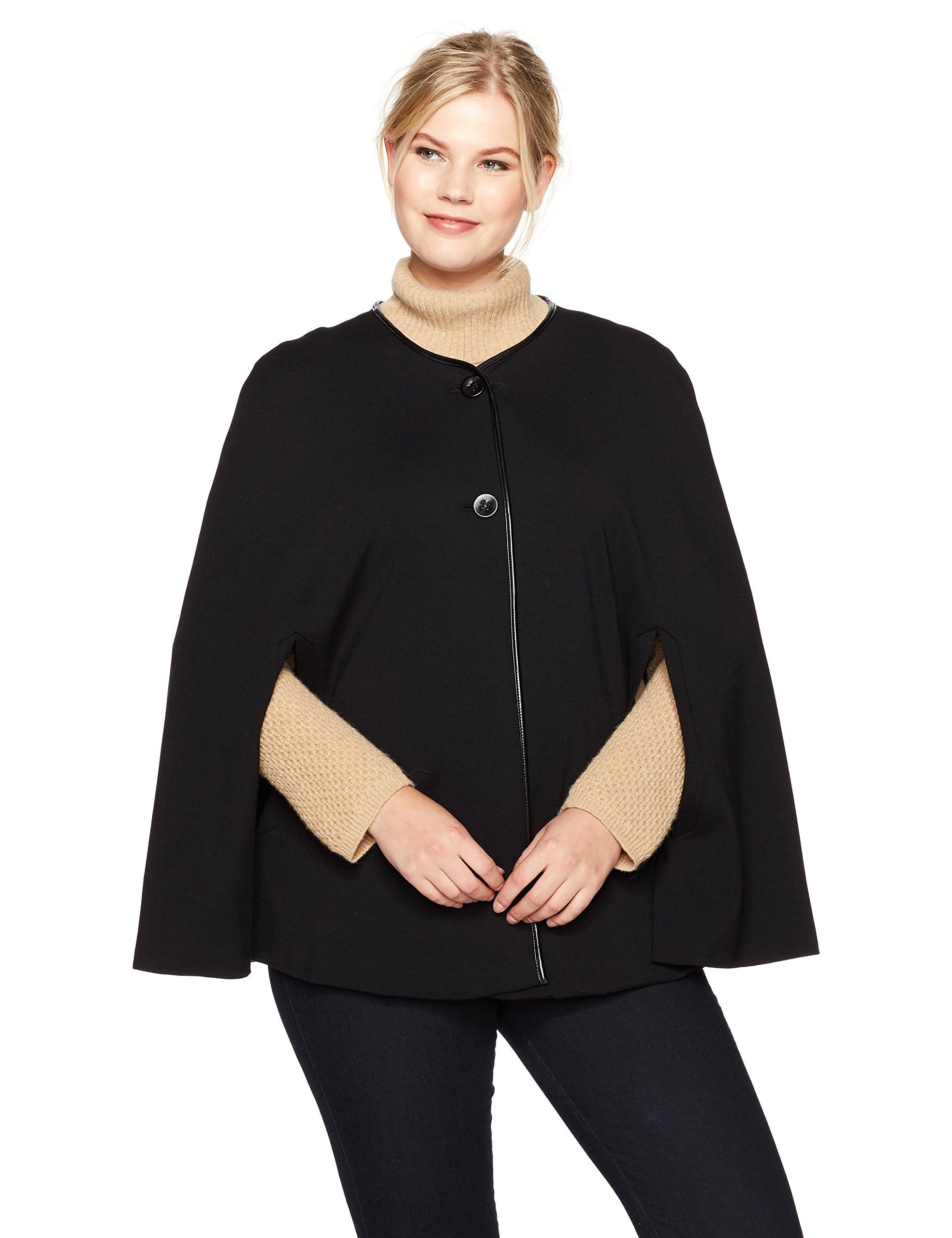 0961f6ba834ea Nine West Womens Plus Size Ponte Jacket with Leather Trim Black 1X   See  this great product.(It is Amazon affiliate link)  WomenPlusSizeClothingIdeas