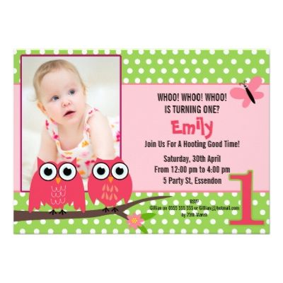 Girls Owl 1st Birthday Party Invitation 1st bday Pinterest - invitation for 1st birthday party girl
