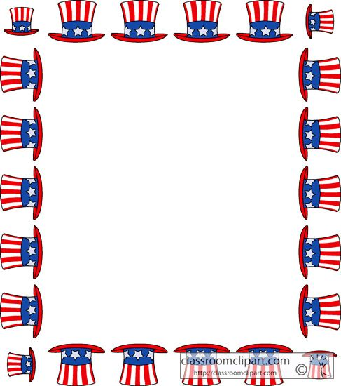 Fourth Of July Clipart Fourth July Hat Sqaure Border Classroom Clipart In 2020 Clip Art Fourth Of July Clip Art Borders