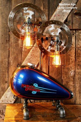 Steampunk Industrial Lamp, Vintage Harley Davidson Motorcycle Gas Tank #354