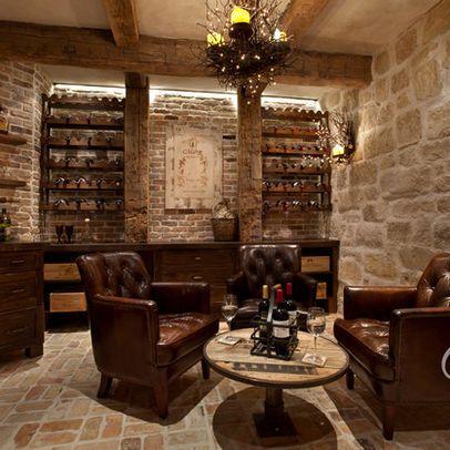 Mediterranean Wine Cellar with lounge chairs! Omg, heaven!