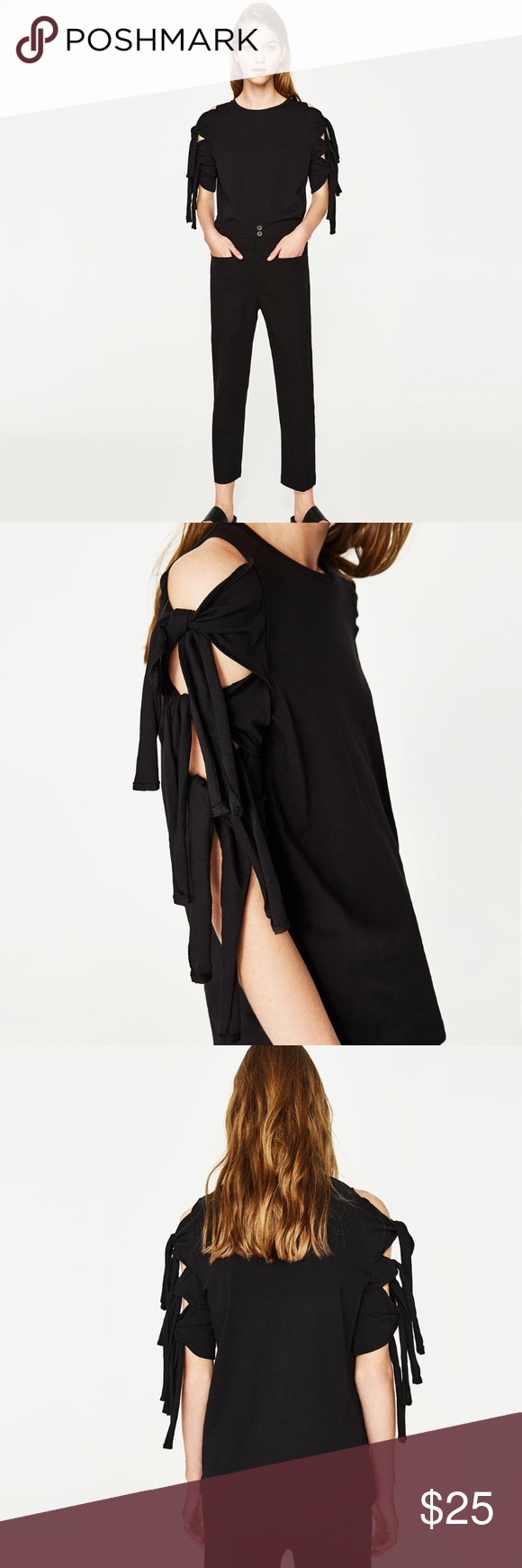 Sold zara tie sleeve top short sleeves zara black and shorts