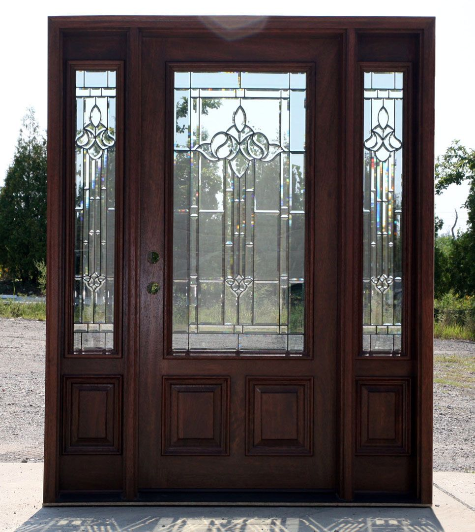 Mahogany exterior door with sidelights n 200 mystic 6 39 8 for Exterior front entry wood doors with glass