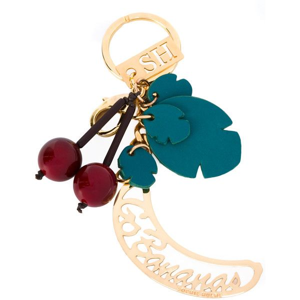 Sophie Hulme cherries keychain ($159) ❤ liked on Polyvore featuring accessories, green, leather key chain, sophie hulme and fob key chain