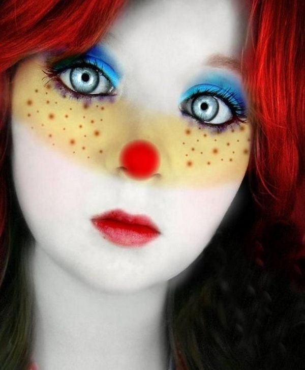 non scary halloween costumes make up ideas cute clown make up red wig - Scary Cat Halloween Costume