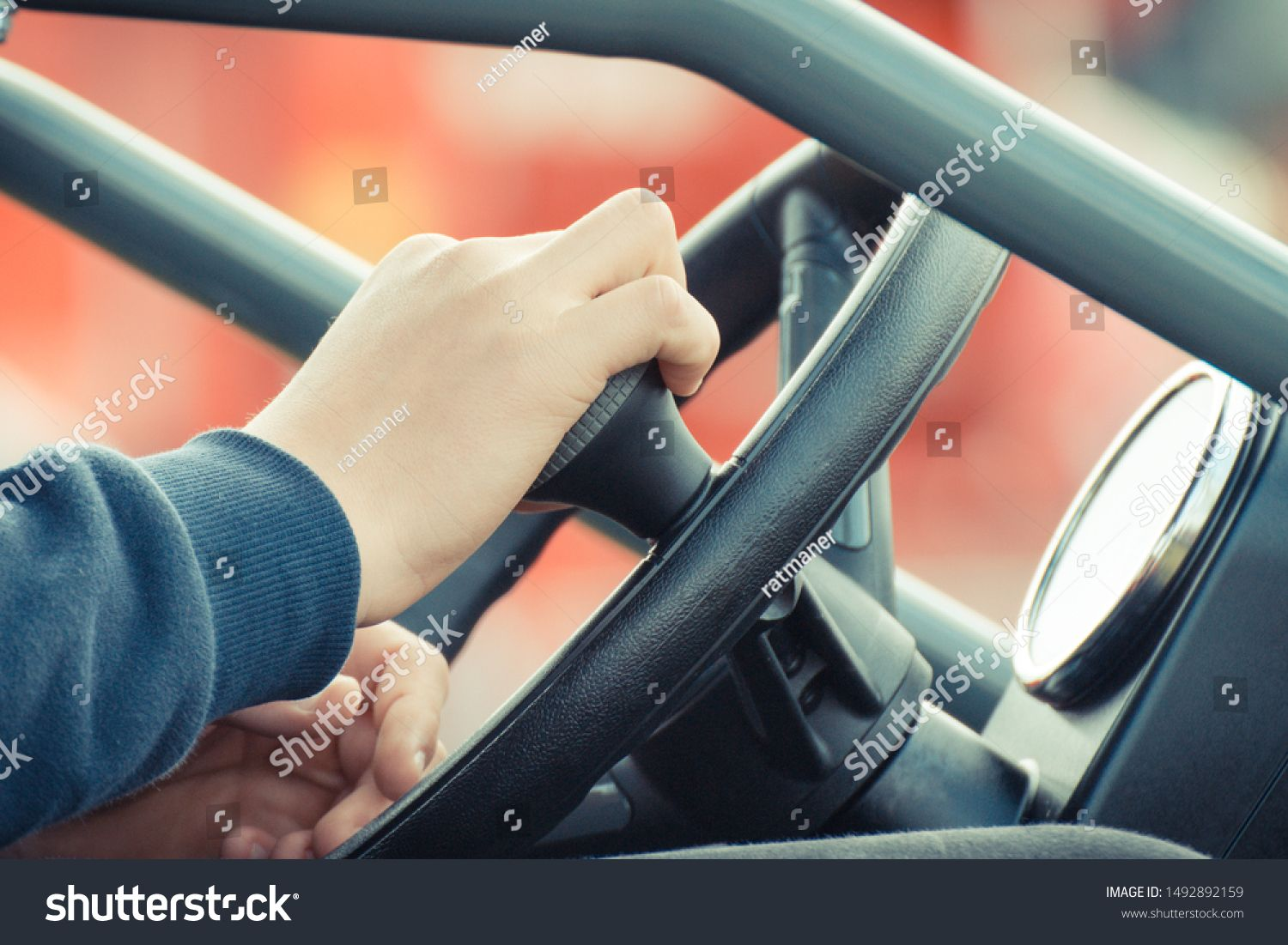 Man operating steering wheel in agricultural or industrial machine, part and detail of vehicle #Ad , #PAID, #wheel#agricultural#steering#Man