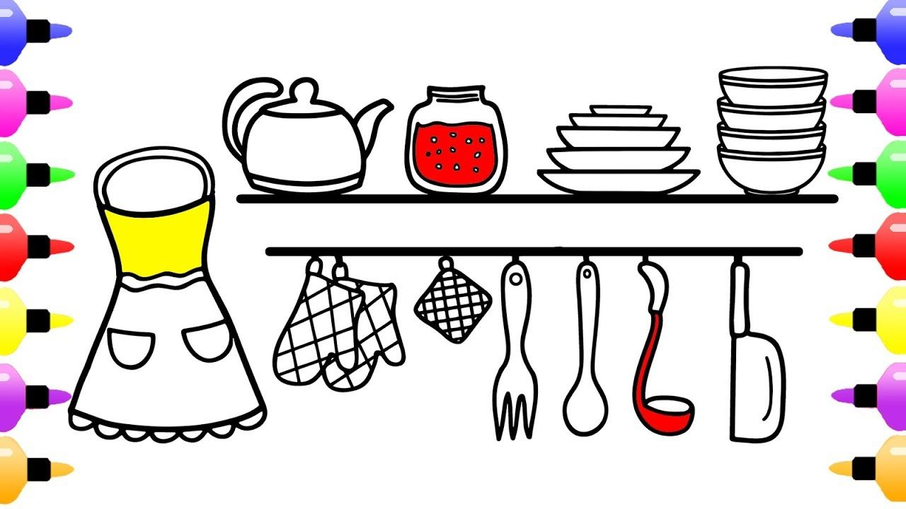 How to Draw Kitchen Tools for Girls & Learn to Draw Cute Art ...