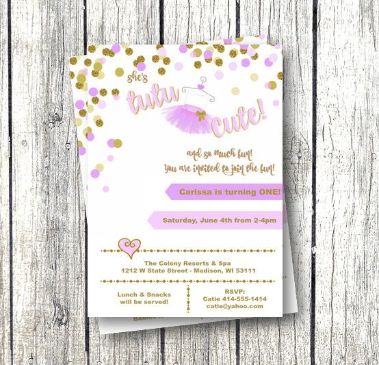 Tutu Birthday Invitation Girl Purple And Gold 1st Or Any Age Editable Template Printable Instant Download Confetti Invite Ballerina
