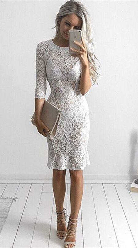 Sheath Crew Knee-Length 3 4 Sleeves White Lace Homecoming Dress 511ebc15145f