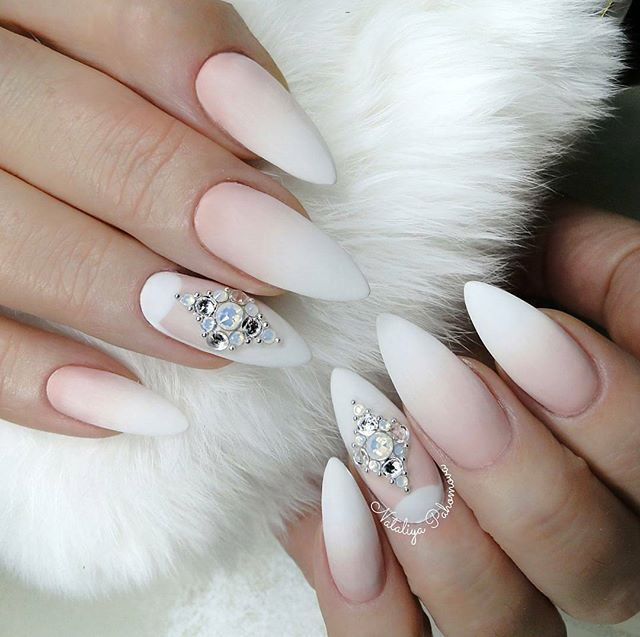 Matte almond nail design with ombre and diamond shaped rhinestones ...