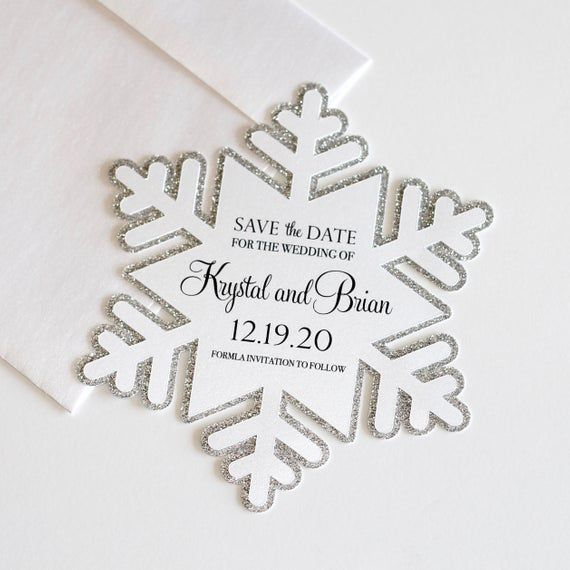 Snowflake Save the Date card – Winter Wedding Save the Date – Winter Wonderland Invitation – White Silver Glitter Die Cut – Frozen theme – someday