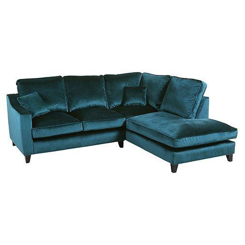 Tesco Direct Tate Velvet Right Hand Corner Chaise Teal Velvet Corner Sofa Teal Corner Sofas Corner Sofa