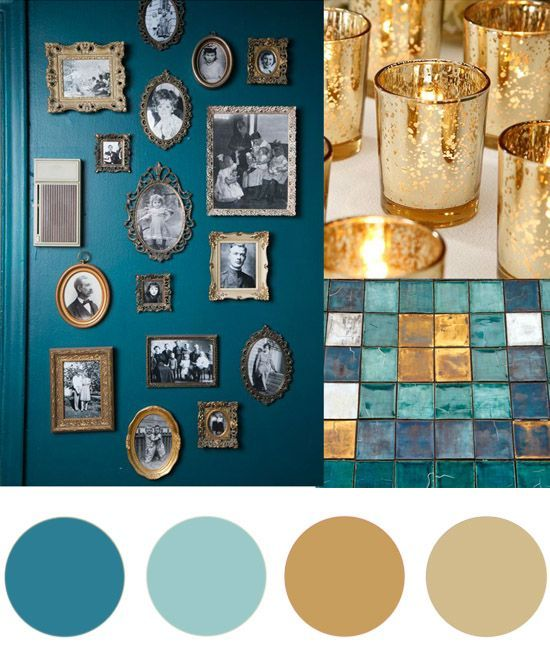 Color palette, teal and gold #colorpalette #teal #gold # ...
