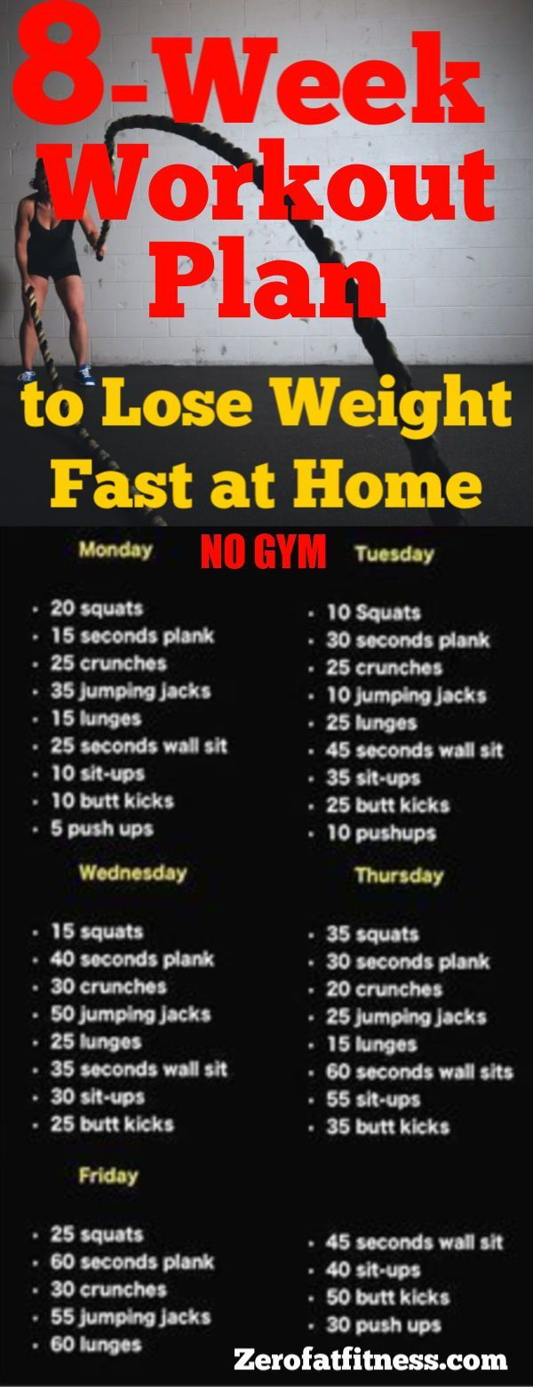 8-Week Workout Plan to Lose Weight Fast at Home with No Gym  work out - Fitness #Fitness #Workout #F...