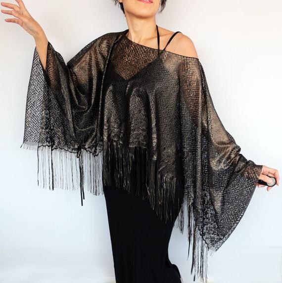 6d003d89dd8 Black Lace Kimono, Fringed Lace Tunic Shawl, Evening Poncho Dress Cover Cape,  Lace Top Shoulder Stol