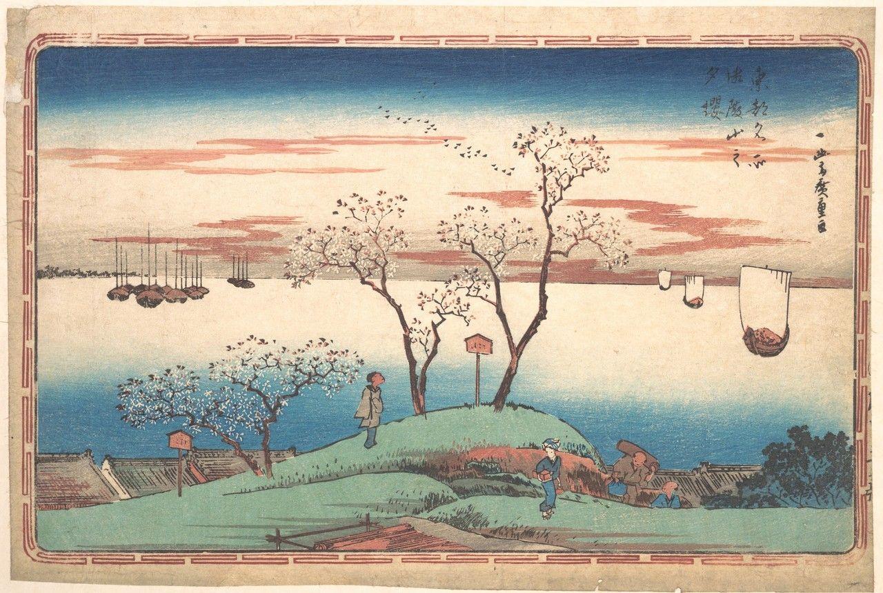 Lionofchaeronea: Evening Cherry Blossoms at Gotenyama, Hiroshige, 1831 - #art #blossom #cherry #Hiroshige #japan #japanese #landscape #spring #ukiyoe #Utagawa