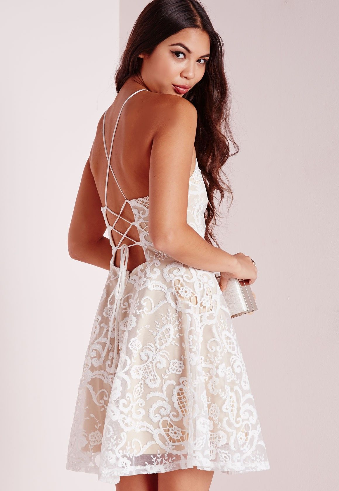 6950f6fa4a2 Missguided - Strappy All Over Lace Skater Dress White