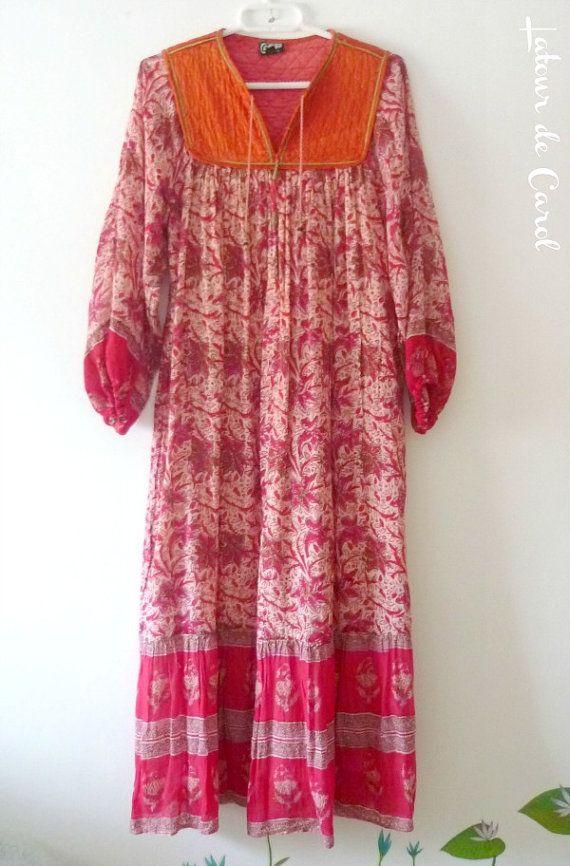 Vintage 70s India Vestido indian Hippie Boho por LatourdeCarol ...