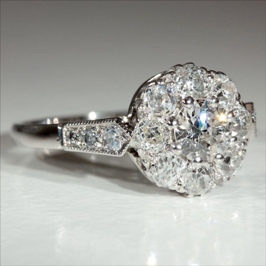 6bfb865528de Vintage 18k and Platinum Art Deco Diamond Engagement Ring c.1930 Anillos De  Compromiso