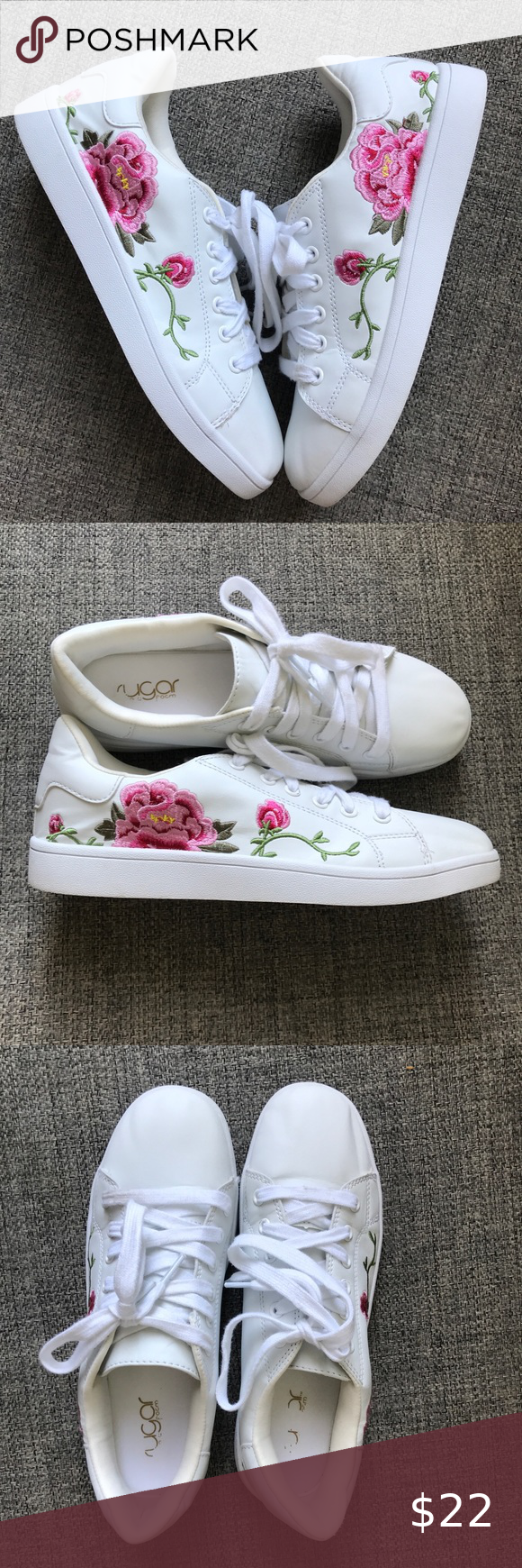 Flower Embroidered Tennis Shoes in 2020