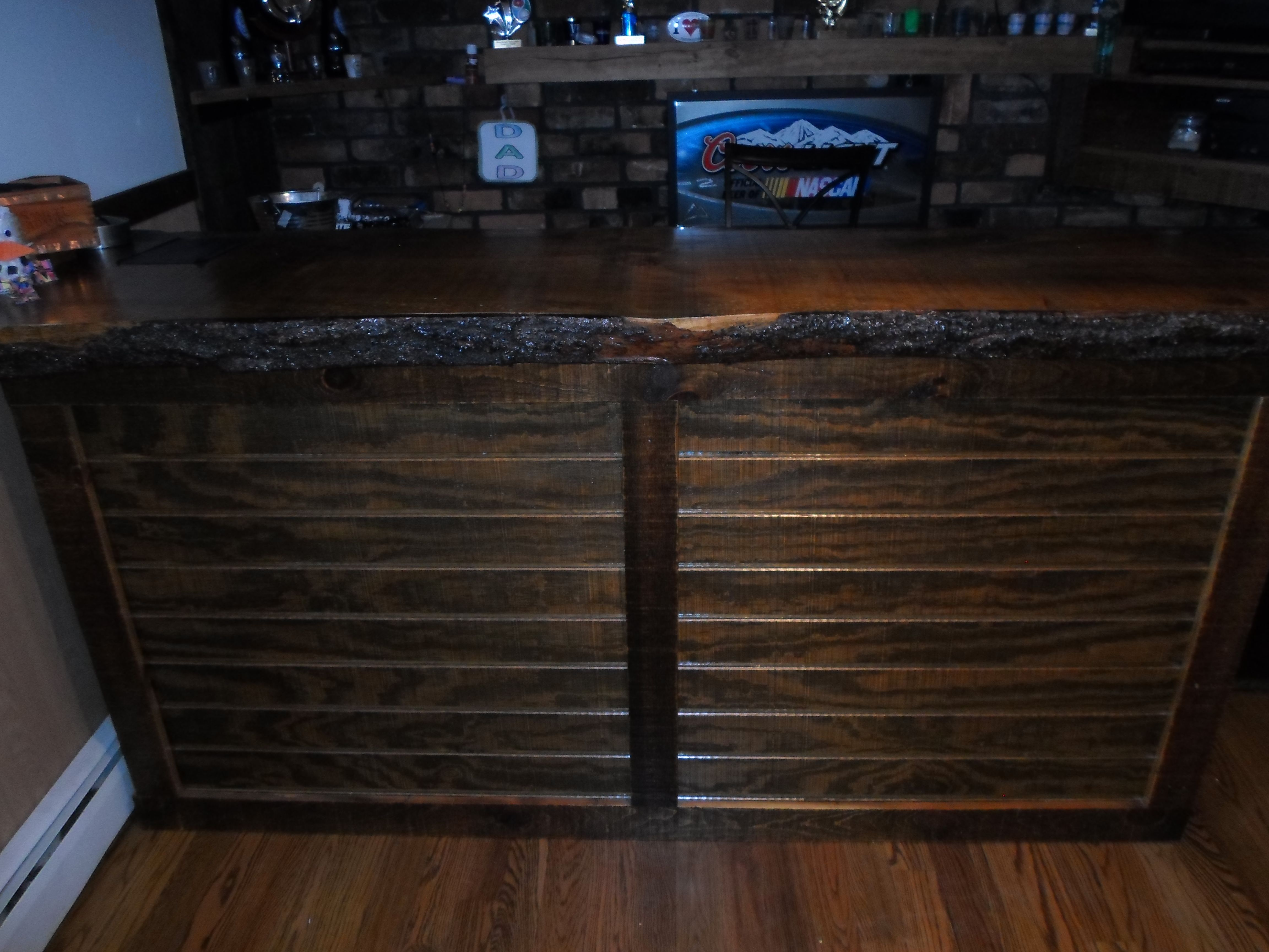 This bar is made of pine and stained with dark walnut made by todd