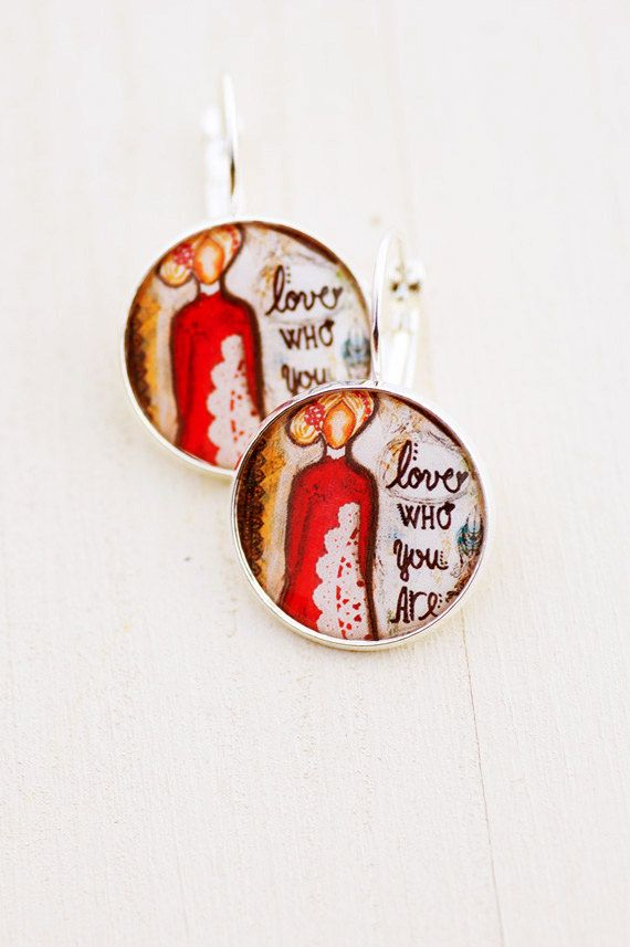 Inspirational Earrings Jewelry Self Love Care Positive Affirmation Gifts