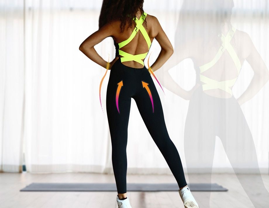 35f00363309 Yel Hot Sexy Girls Backless Playsuit Fitness Tights Jumpsuits Costume Yoga  Sport Suit Gym Tracksuit For Women One Piece Bodysuit on Aliexpress.com