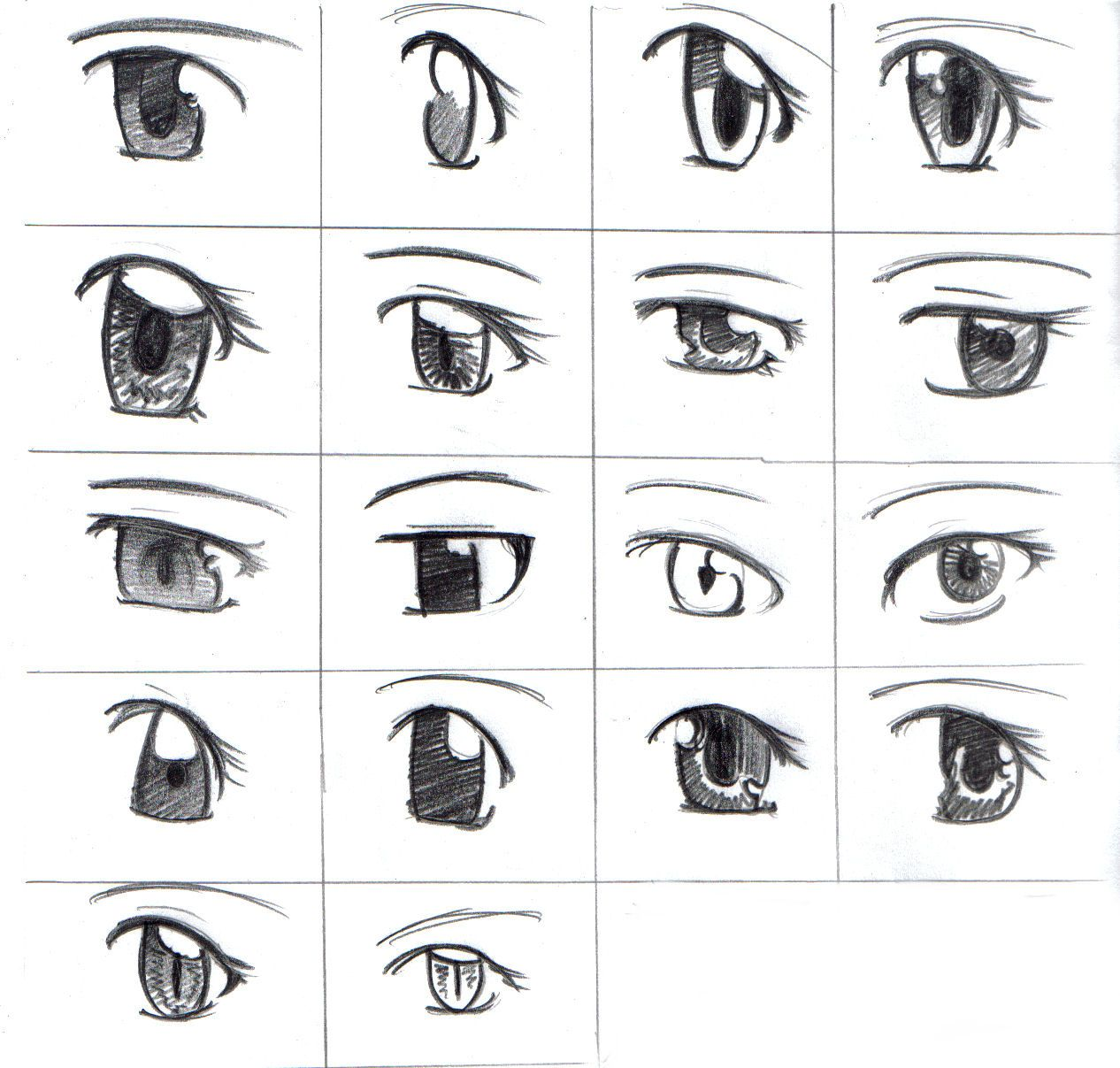 How to draw anime eyes This image show some examples of